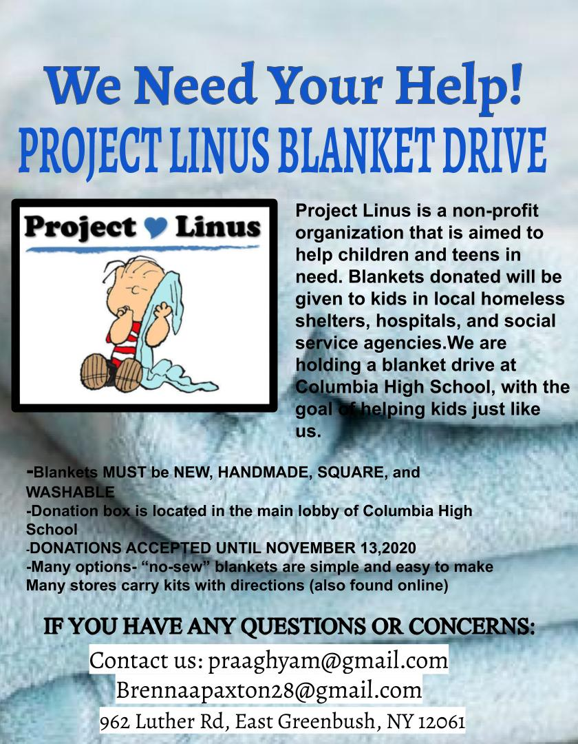 Project Linus Blanket Drive Flyer