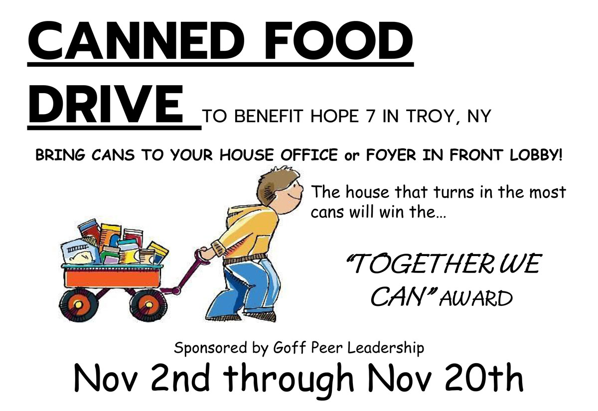 Goff Canned Food Drive flyer