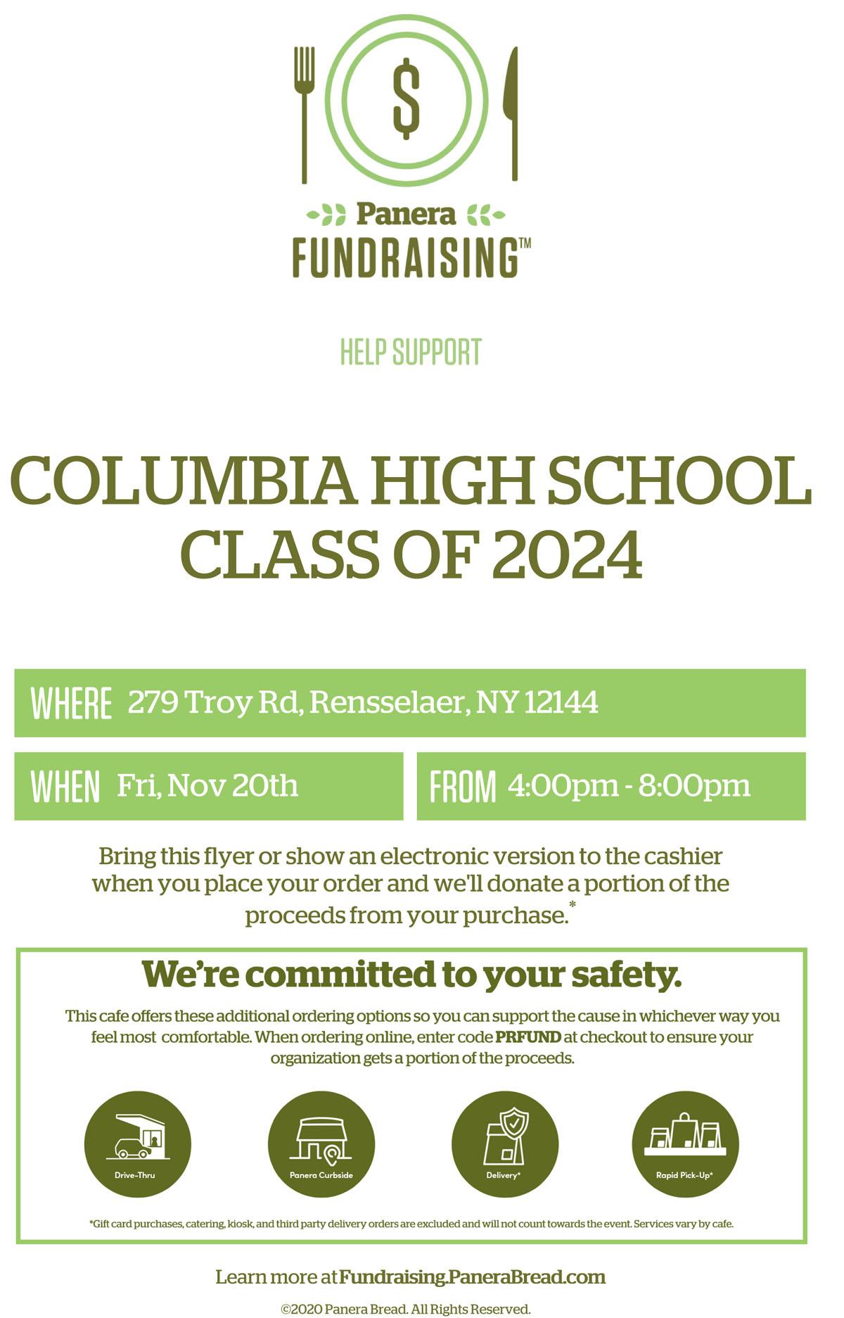 Panera Fundraising flyer