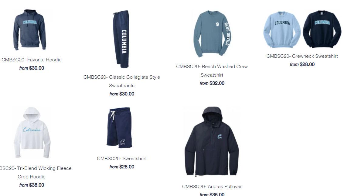 Columbia apparel screenshot