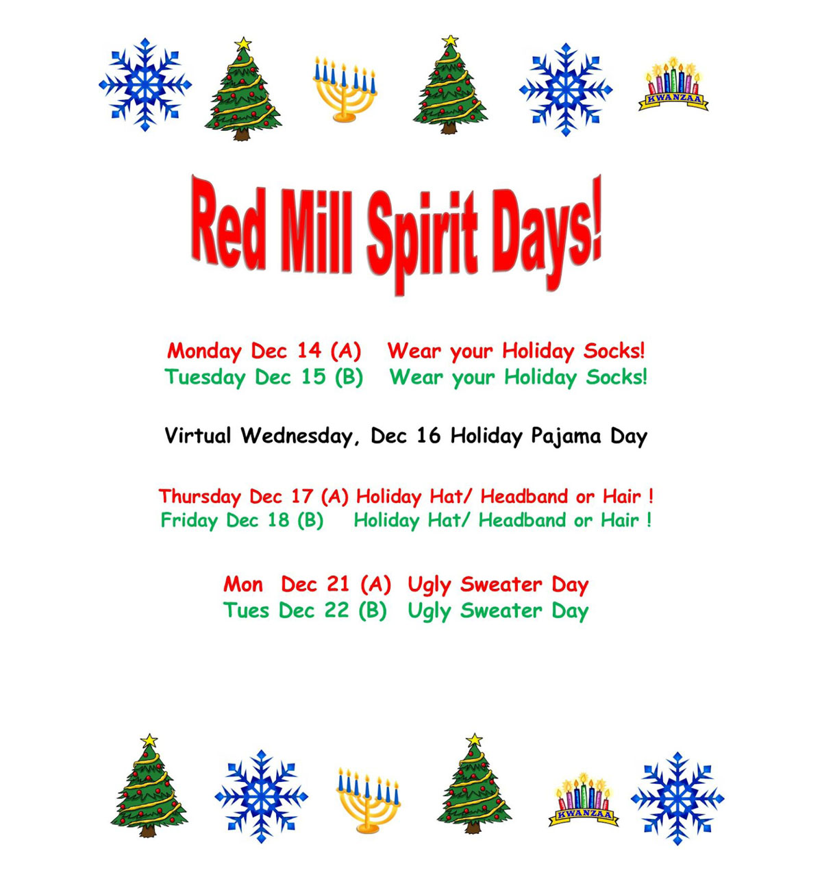 Red Mill Holiday Spirit Days flyer