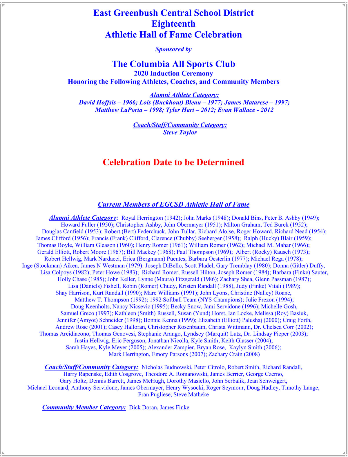 2021 Athletic Hall of Fame Celebration flyer