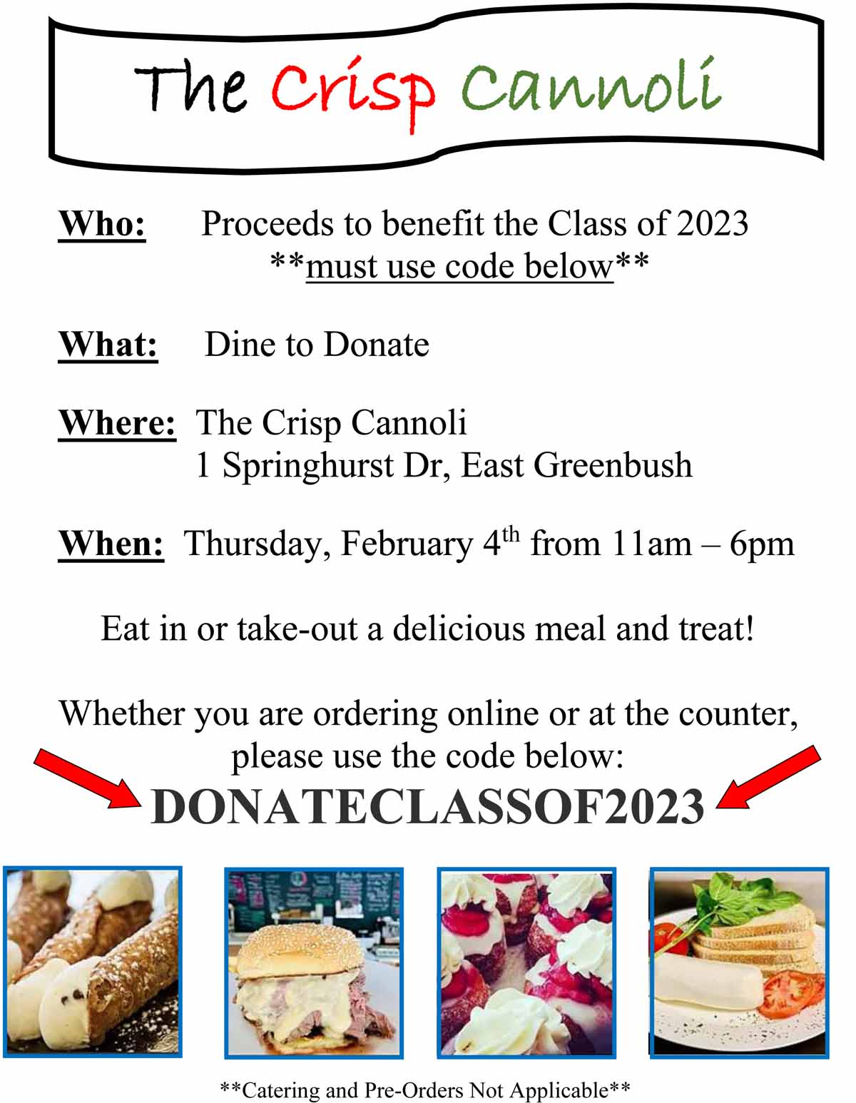The Crisp Cannoli Fundraiser Flyer