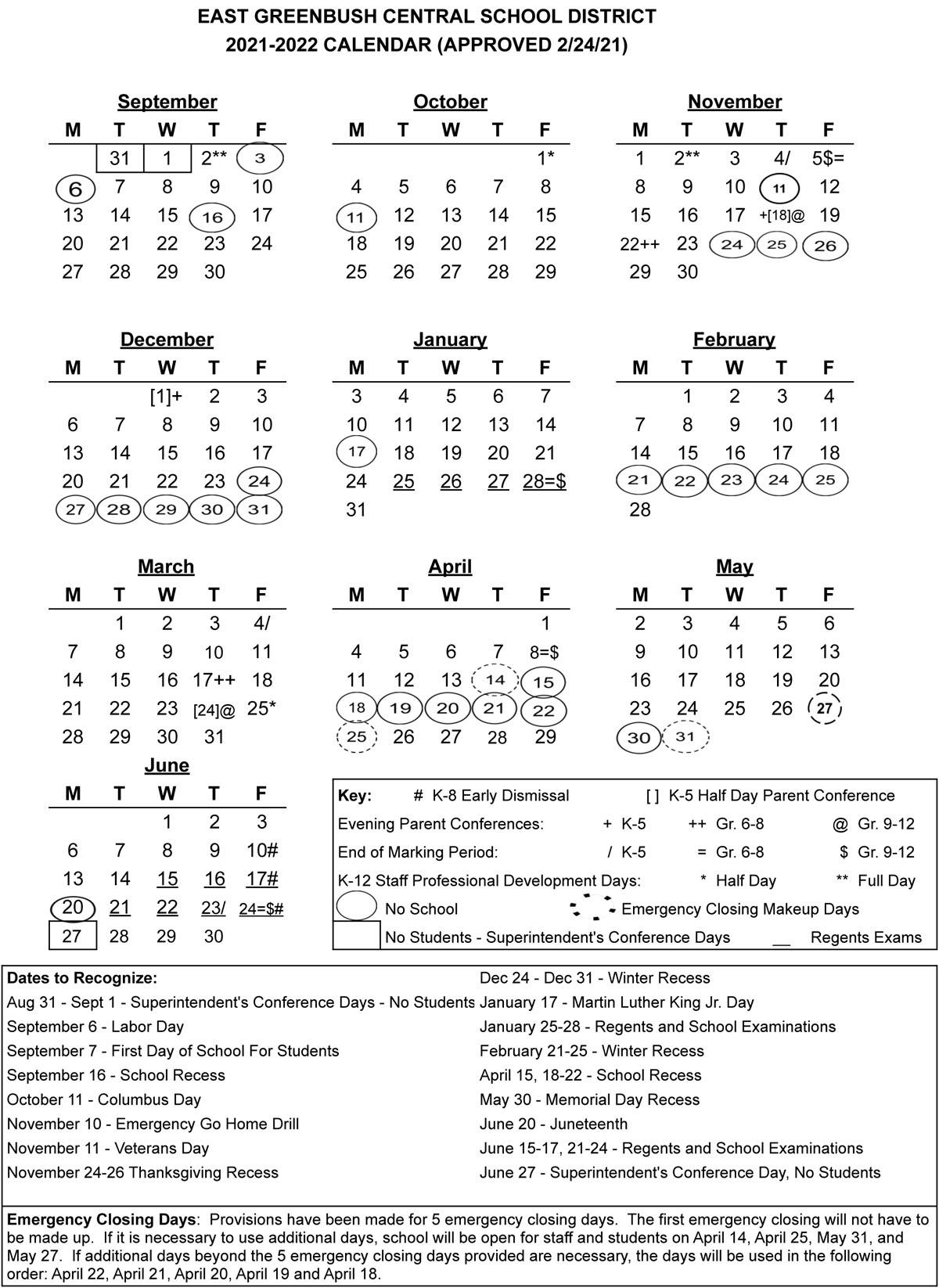 2021-22 Calendar at a Glance
