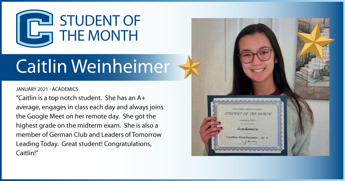 Caitlin Weinheimer - Student of the Month
