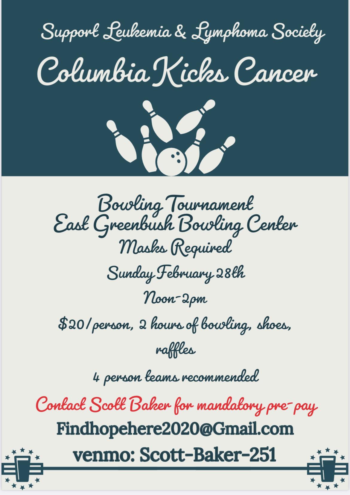 Columbia kicks cancer bowling fundraiser