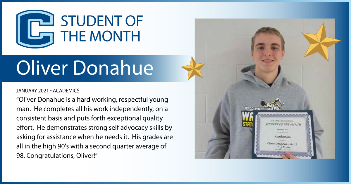 Oliver Donahue - Student of the Month