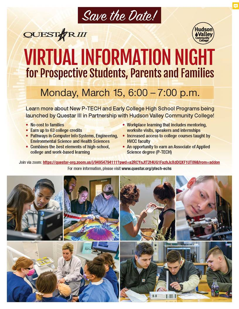 PTECH and ECHS Information Night flyer