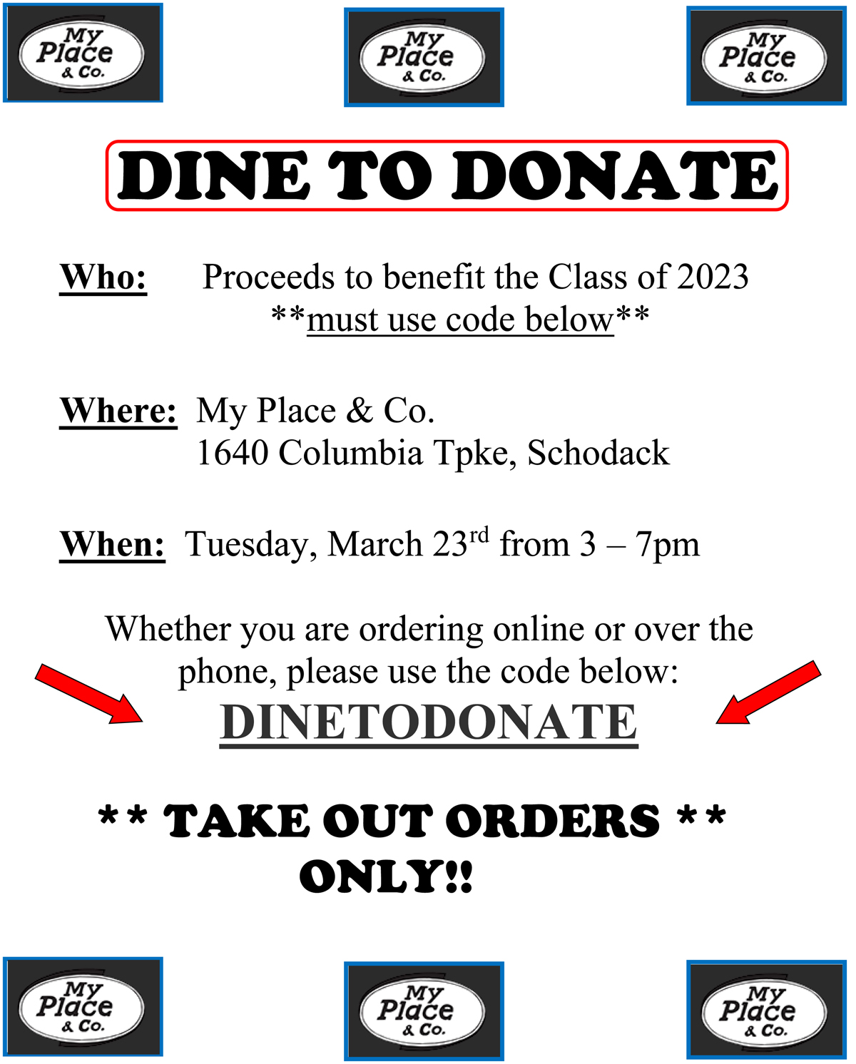My Place - Dine to Donate flyer