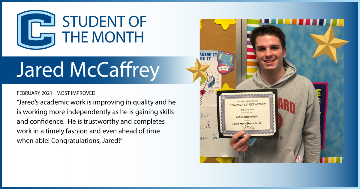 Jared McCaffrey - Student of the Month