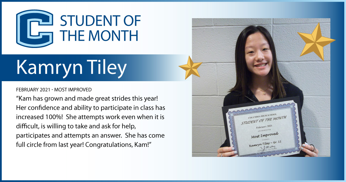 Kamryn Tiley - Student of the Month