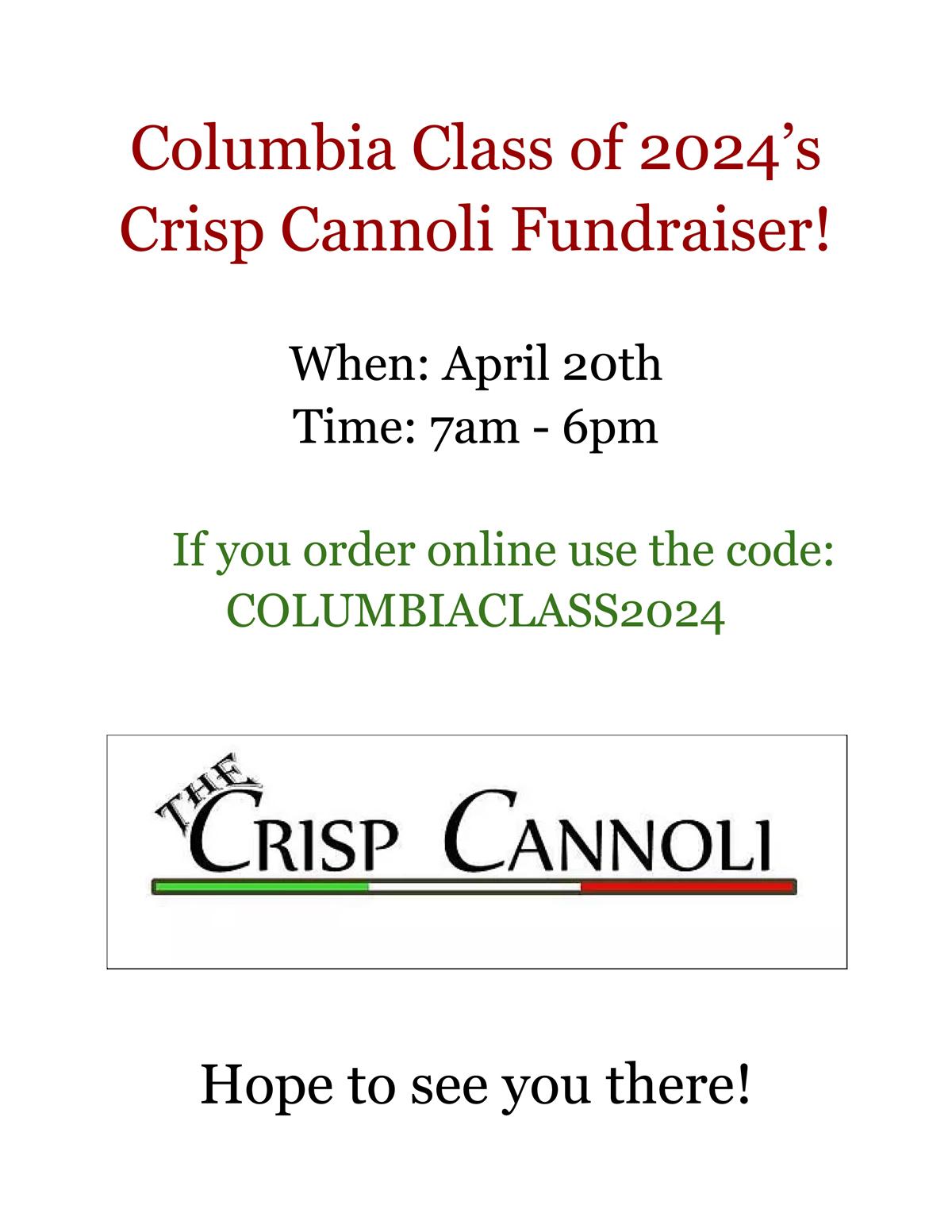 Crisp Cannoli Fundraiser flyer