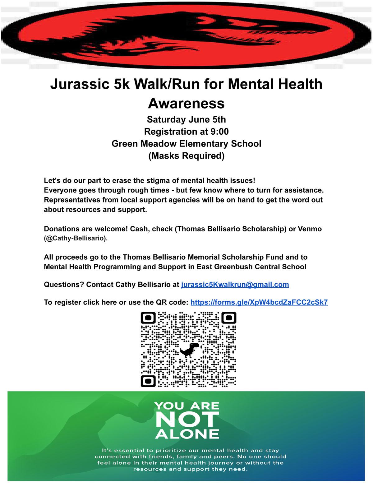 Jurassic 5k for Mental Health Awareness flyer