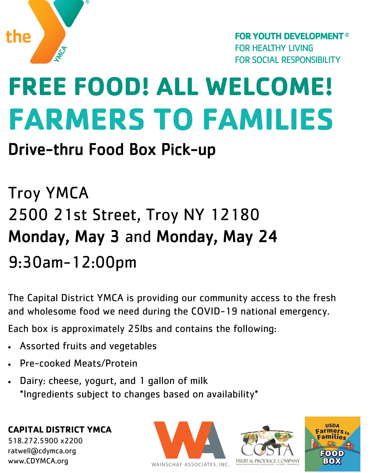 Troy YMCA Farmers to Families flyer