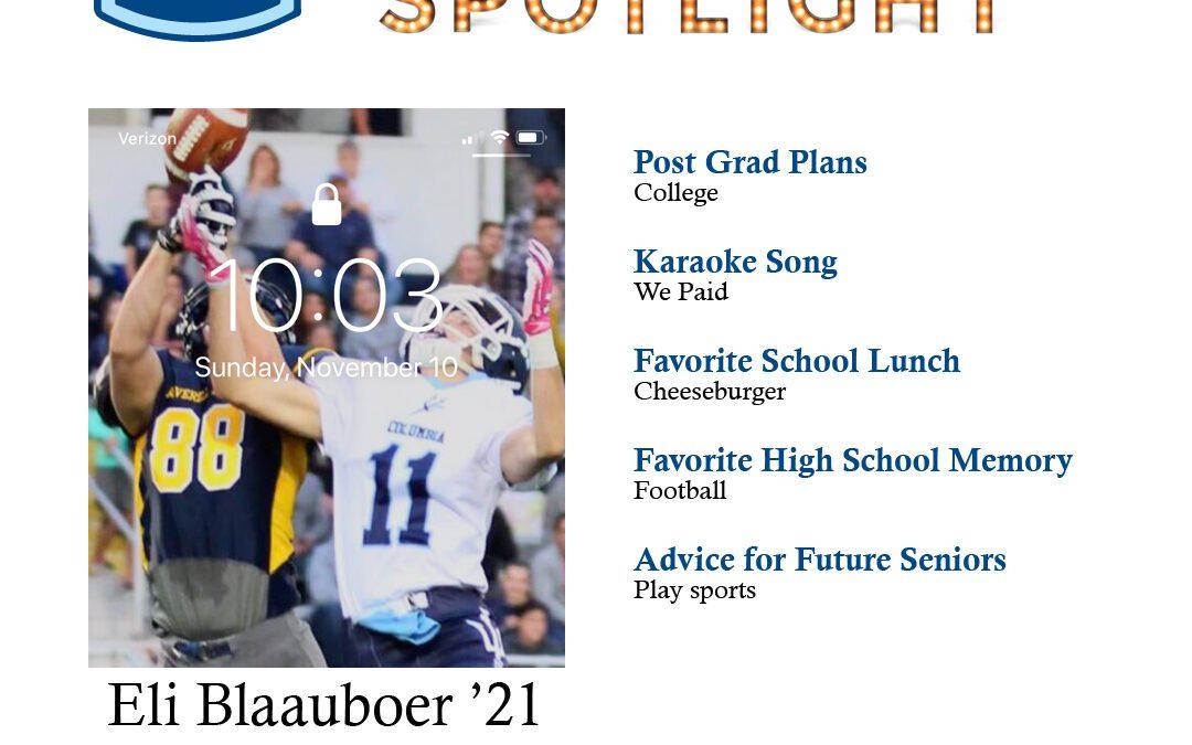 Senior Spotlight: Eli Blaauboer '21
