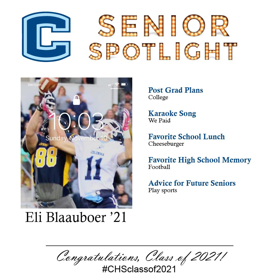Eli Blaauboer senior spotlight