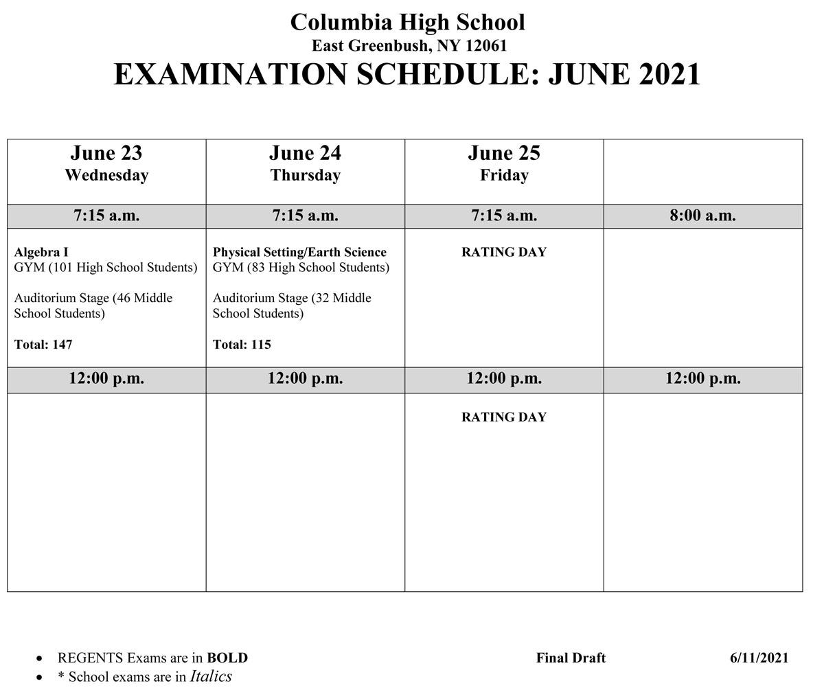June 2021 Regents Exam Schedule - Page 2