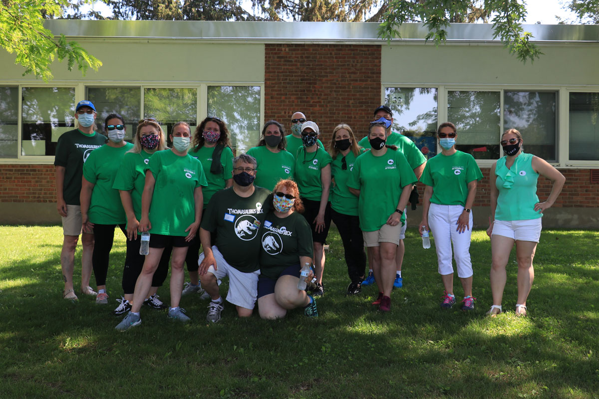The Bellisario Family and school staff at the Jurassic 5K