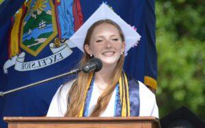 Katie Asenbauer speaking at 2021 Graduation