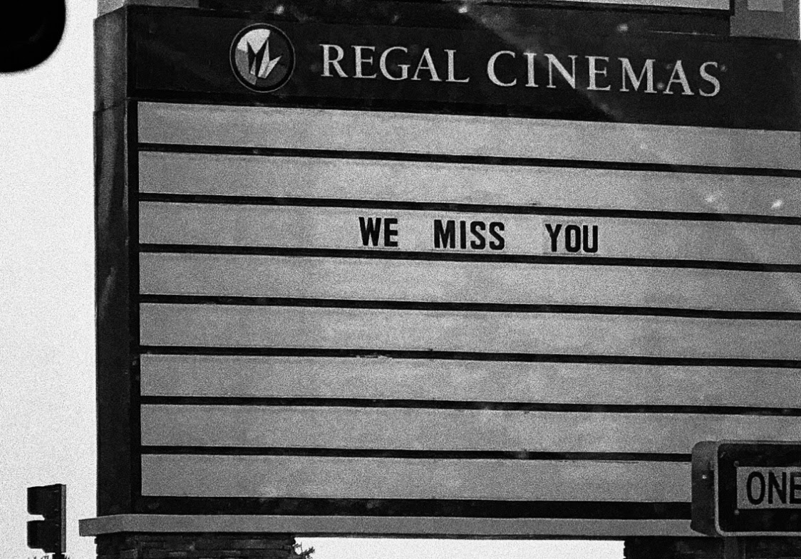 Photograph of movie theatre sign
