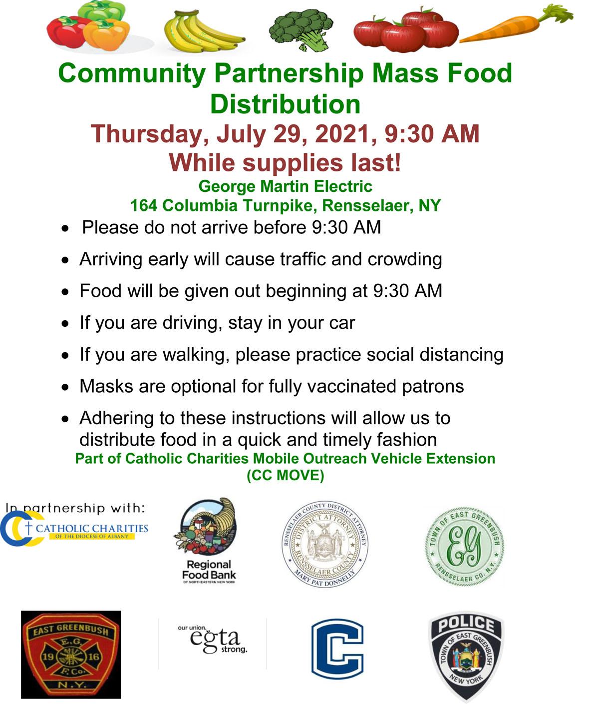 Drive Through Food Pantry flyer