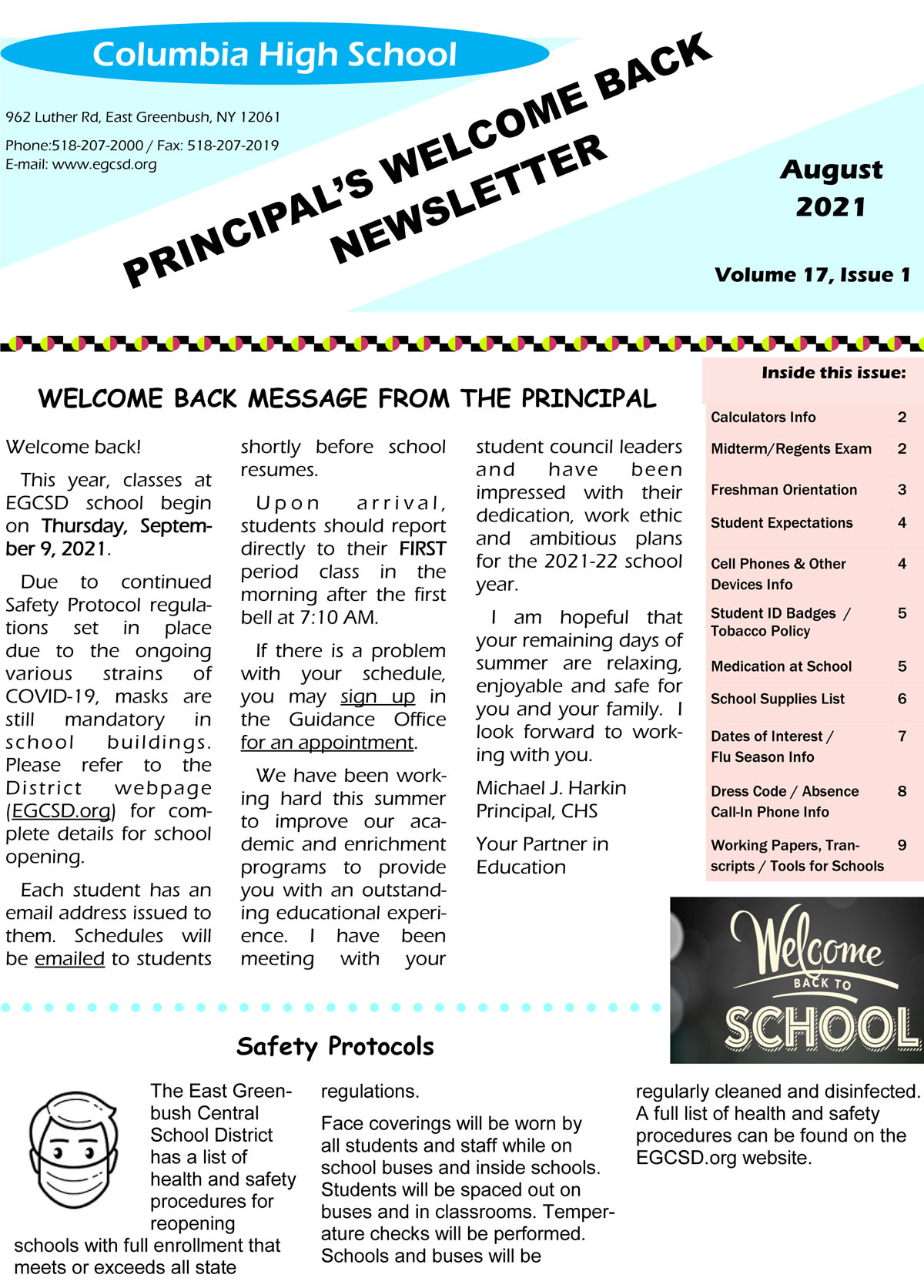 Columbia Back to School Newsletter cover