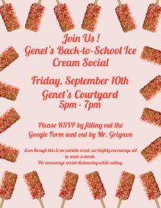 Genet Ice Cream Social flyer