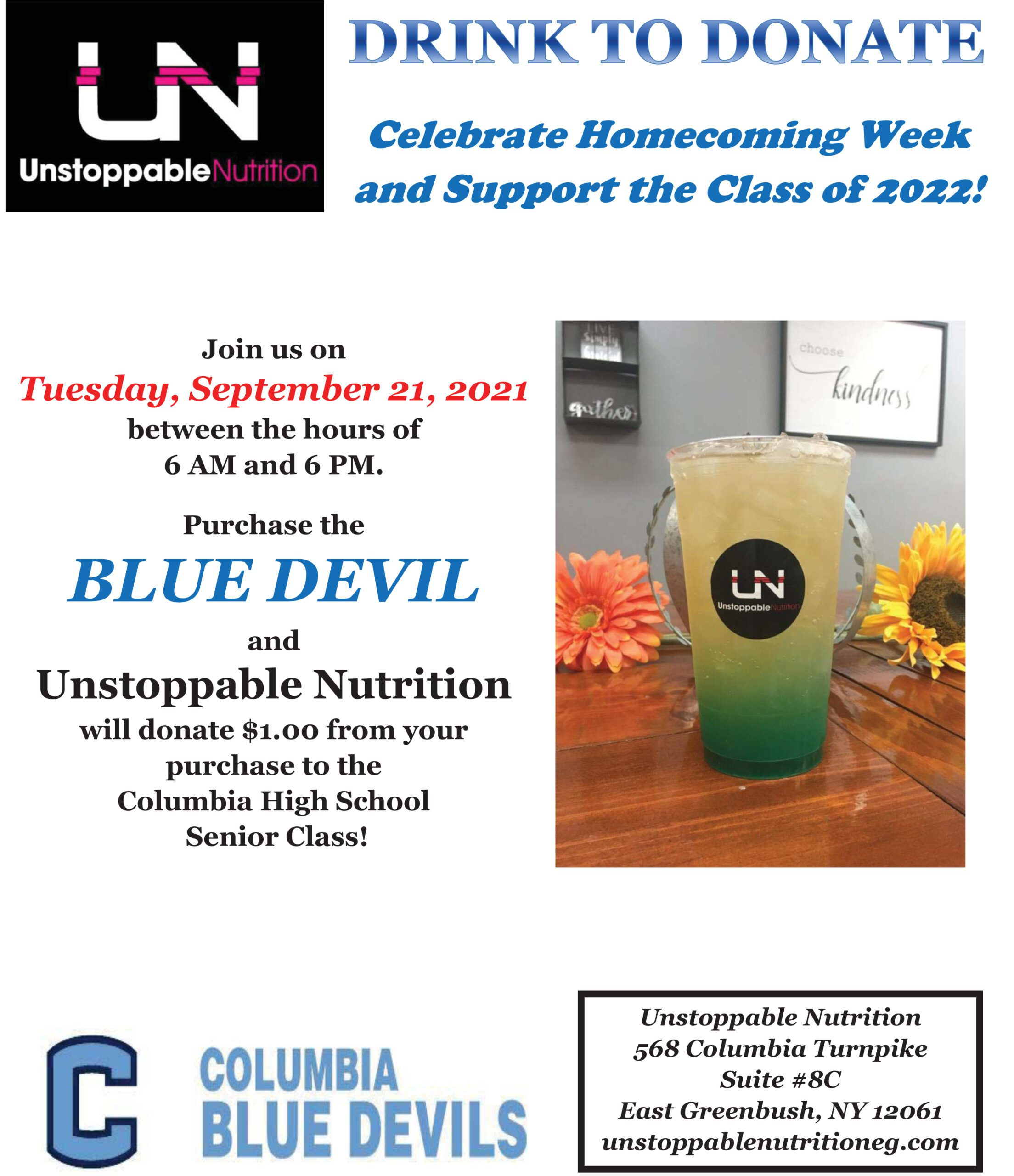 Unstoppable Nutrition to Benefit Class of 2022 – September 21