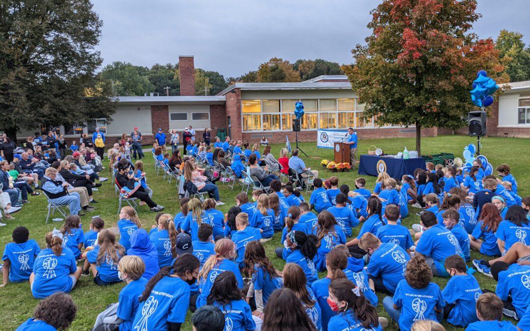 Green Meadow Goes Blue at School-wide Celebration